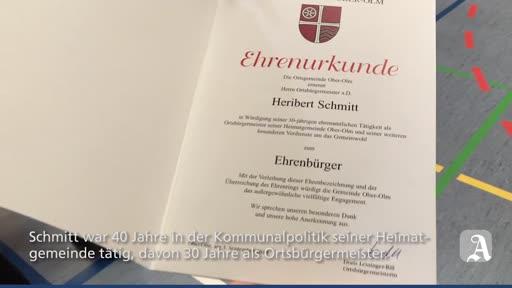 Ehrenbürgerwürde für langjährigen Ober-Olmer Ortsbürgermeister Heribert Schmitt