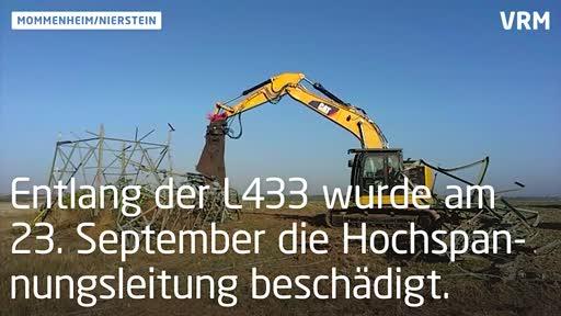 Provisorische Strommasten in Mommenheim aufgestellt