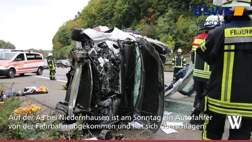 Schwerer Unfall auf A3 bei Niedernhausen