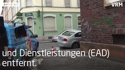 Mit dem Hochdruckreiniger gegen Darmstadts Graffiti