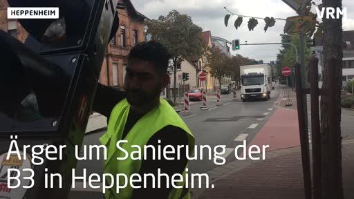 Heppenheim: Sanierung der B3 führ zu Verkehrschaos