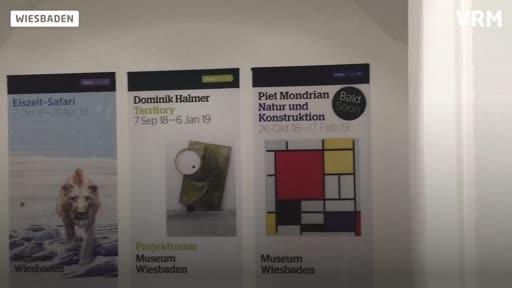 Aufbau der Piet Mondrian-Ausstellung im Museum Wiesbaden