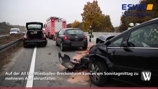 Wiesbaden: Stau nach Auffahrunfällen auf A3