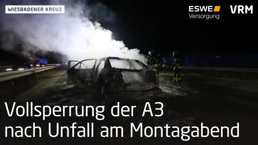 Vollsperrung der A3 nach Unfall am Wiesbadener Kreuz